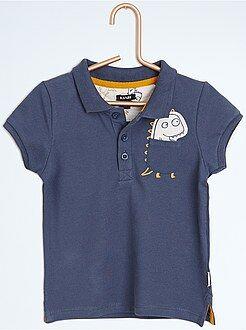 T-shirt - Polo en piqué de coton patch 'dinosaure'