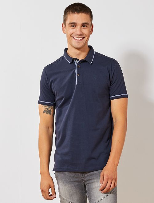 Polo jersey biais contrastés                                                     bleu marine Homme