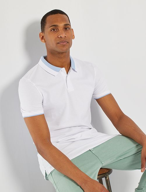 Polo maille fine                                                                 blanc