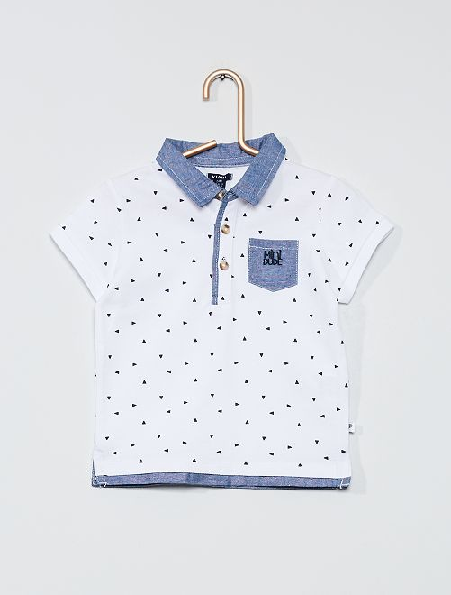 Polo maille piquée                     blanc/triangle