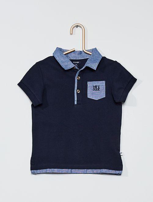 Polo maille piquée                                         bleu marine