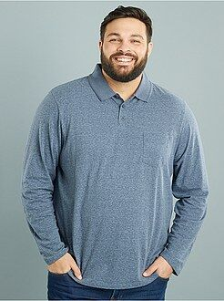 Grande taille homme Polo manches longues en maille chinée