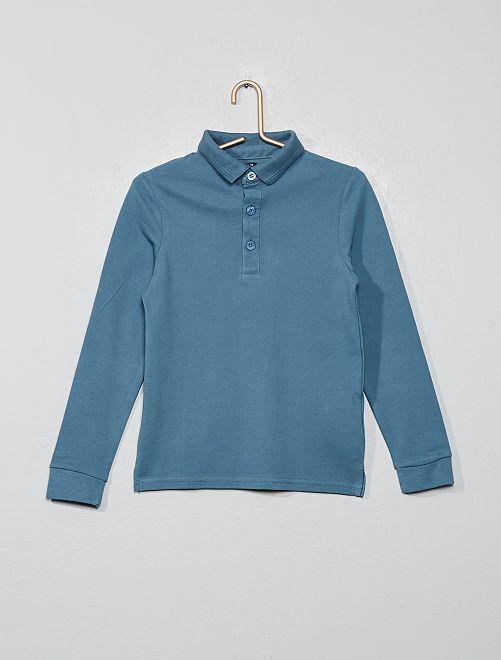Polo piqué de coton                                                                 bleu gris