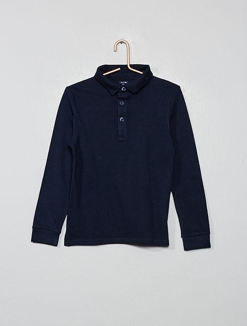 Polo piqué de coton                                                                 bleu marine