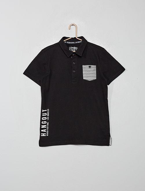 Polo poche rayée                     noir