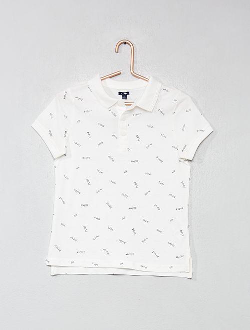 Polo pur coton                                                                             blanc/texte