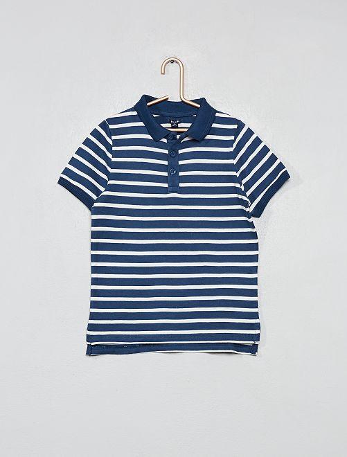 Polo pur coton                                                                             bleu rayé