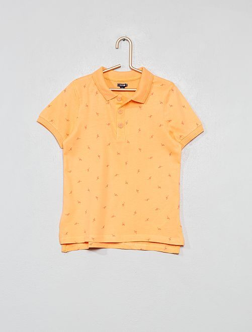 Polo pur coton                                                                                         orange/flamant Garçon