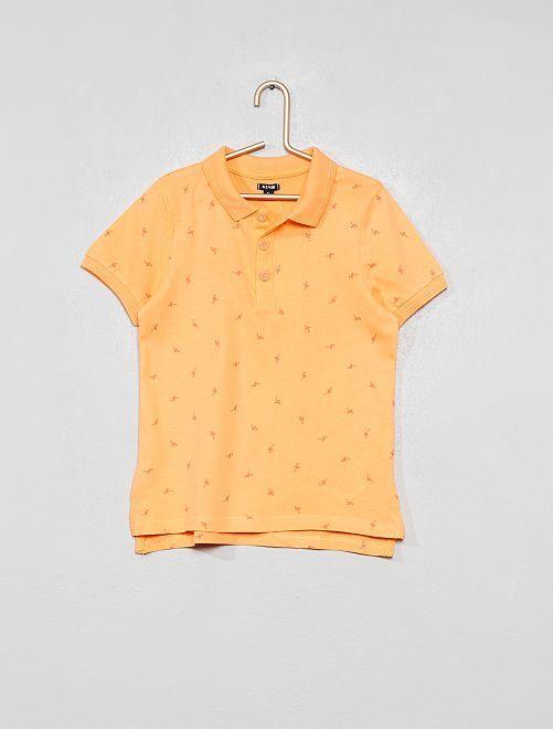 Polo pur coton                                                                             orange/flamant