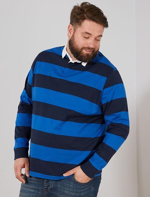 Polo rayé esprit rugby                                                         bleu marine/bleu