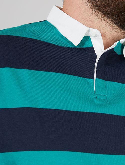 Polo rayé esprit rugby                                                                             bleu marine/vert