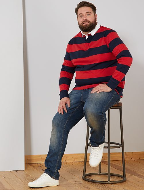 Polo rayé esprit rugby                                                                 rouge/noir
