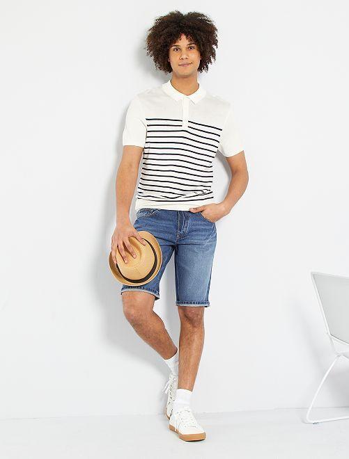 Polo rayé maille tricot                                         blanc/marine