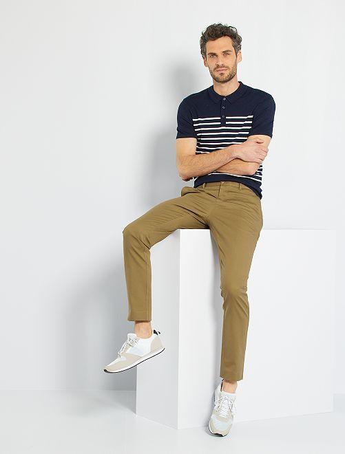 Polo rayé maille tricot                                         marine/blanc