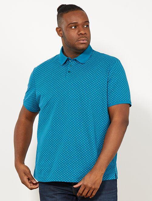 Polo regular à micro motif                             bleu canard Grande taille homme