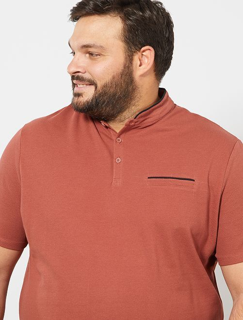 Polo regular col mao                                                     rouge brique