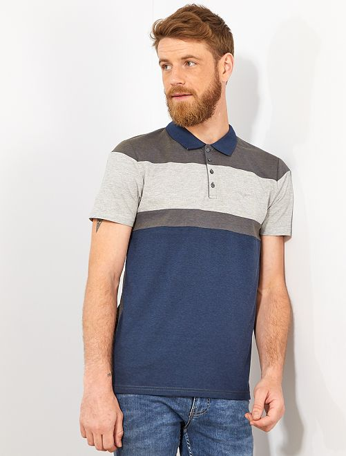 Polo regular colorblock                                         bleu marine Homme