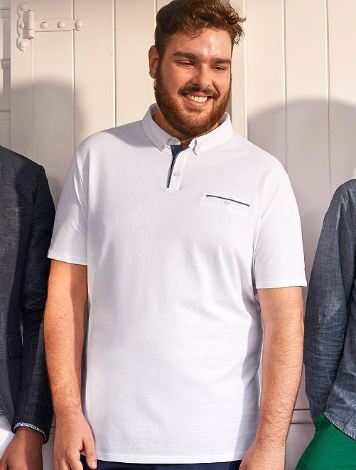 Polo regular détails chambray                             blanc Grande taille homme