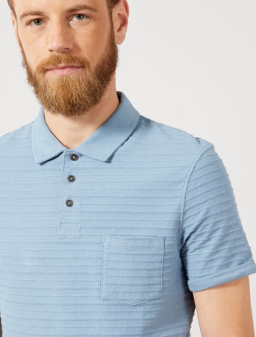 Polo regular rayures relief                                         bleu gris Homme