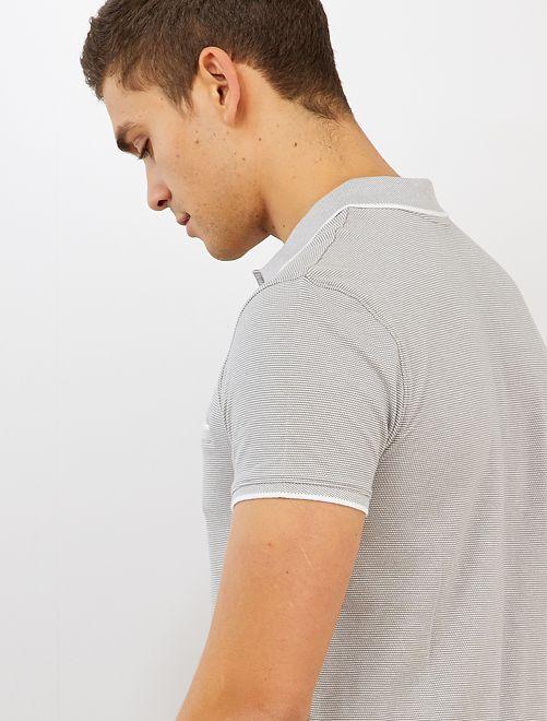 Polo slim bicolore                                                                 gris clair/blanc
