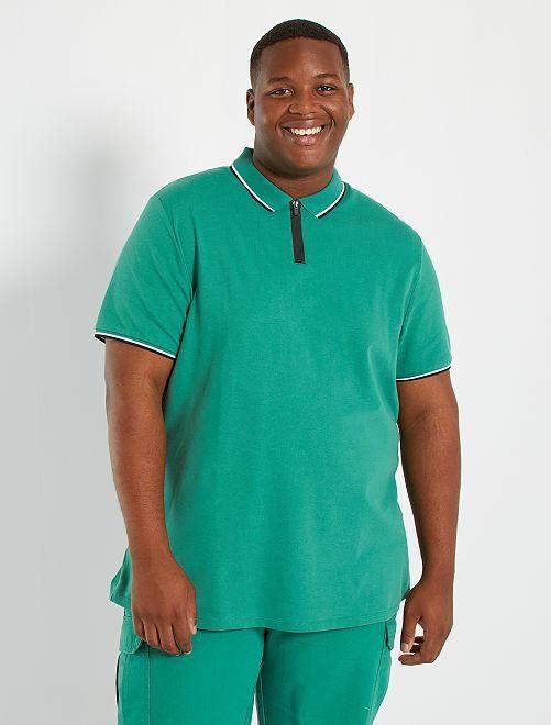 Polo slim col zippé                                         vert