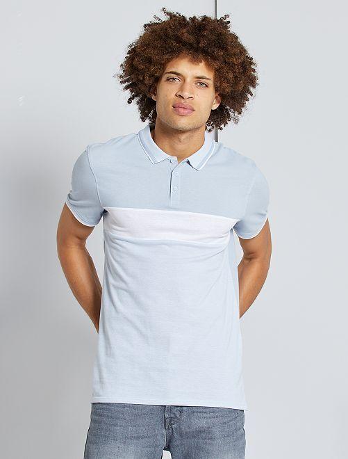 Polo slim color block                                                                             bleu clair/blanc