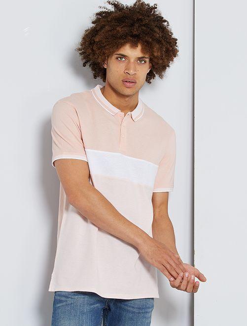 Polo slim color block                                                                             rose pâle/blanc