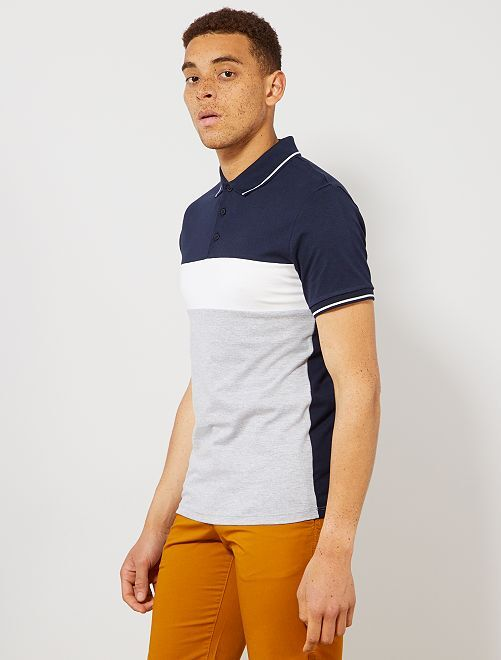 Polo slim colorblock                                                                             bleu marine/blanc/gris chiné