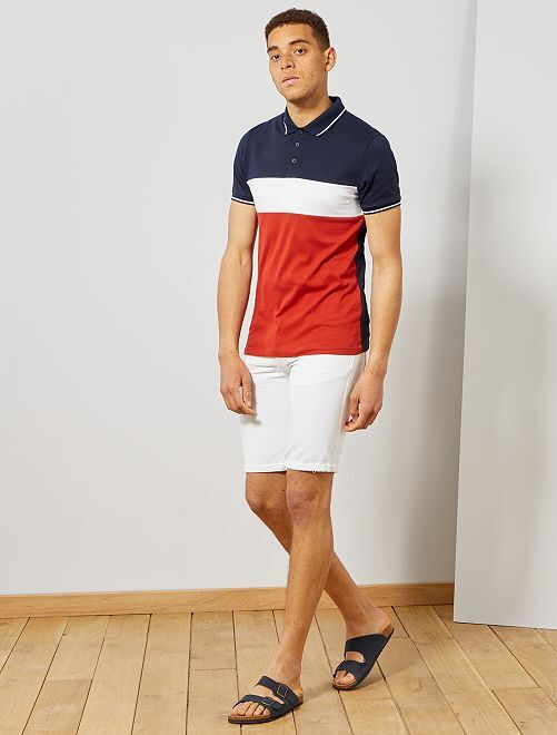 Polo slim colorblock                                                                             bleu marine/blanc/rouge Homme