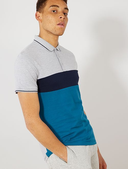 Polo slim colorblock                                                                             gris chiné/bleu marine/bleu canard
