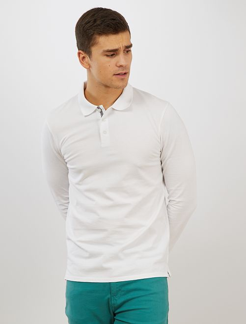 Polo slim coton bio 'éco-conception'                                                     blanc