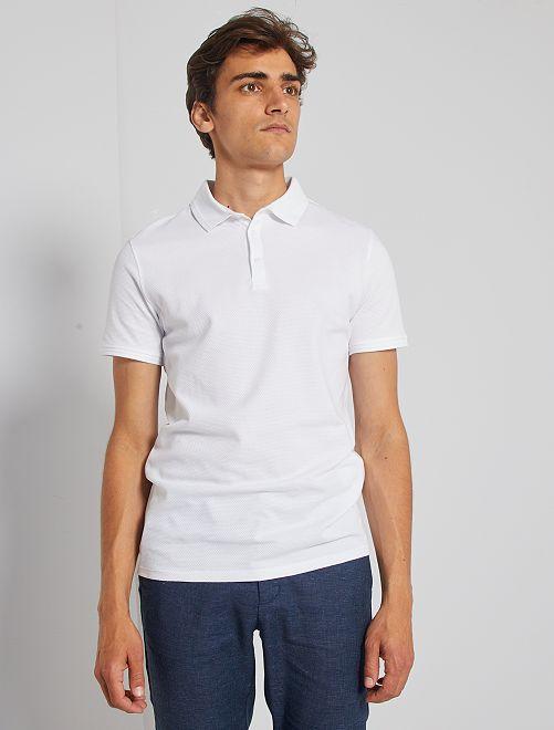 Polo slim en coton dobby                                                                 blanc