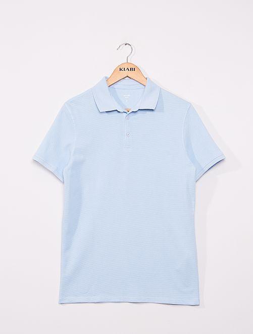Polo slim en coton dobby                                                                 bleu