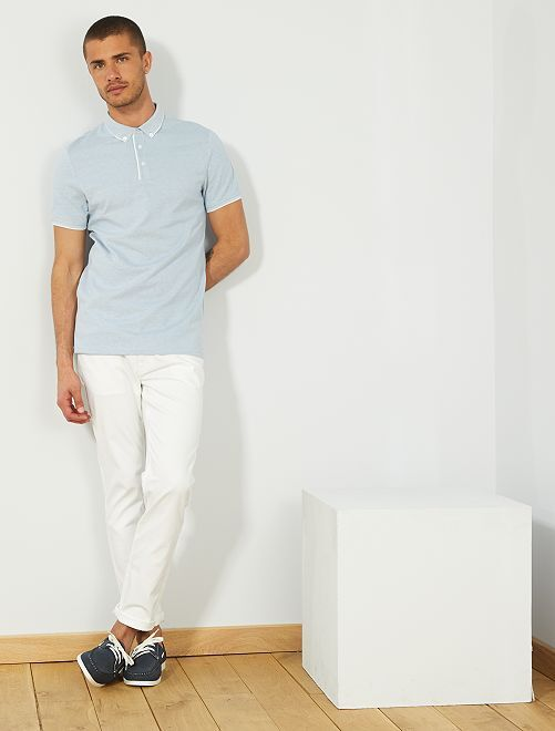 Polo slim en piqué bicolore                                                                 bleu pâle/blanc