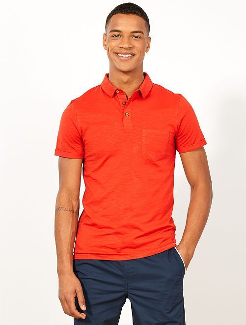 Polo slim maille flammée                                                     rouge Homme