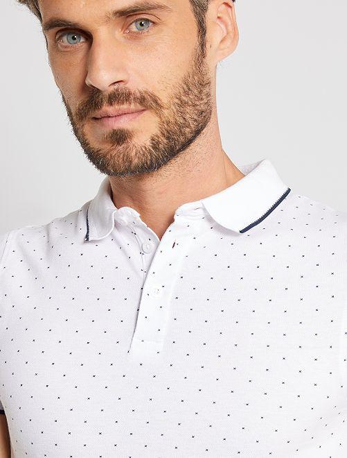 Polo slim micro motif                     blanc/noir