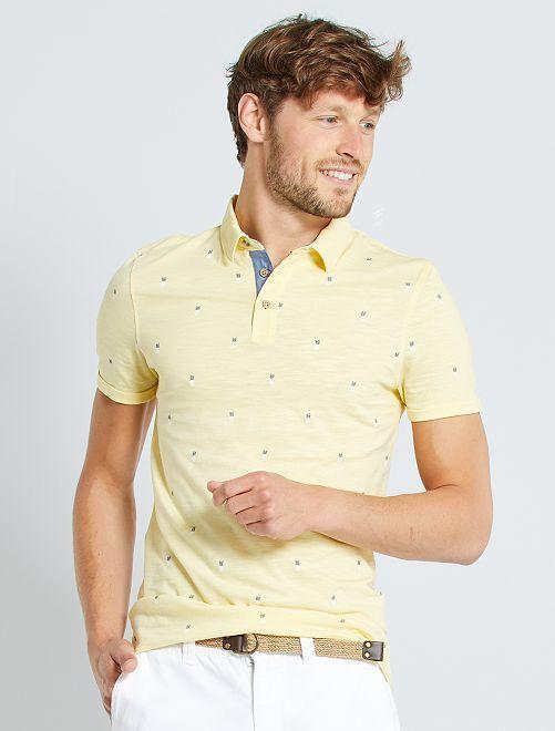 Polo slim micro motif                                                                 jaune/ananas