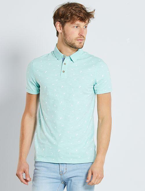 Polo slim micro motif                                                         turquoise/bird