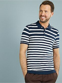 Polo - Polo slim rayé maille jersey esprit tricot