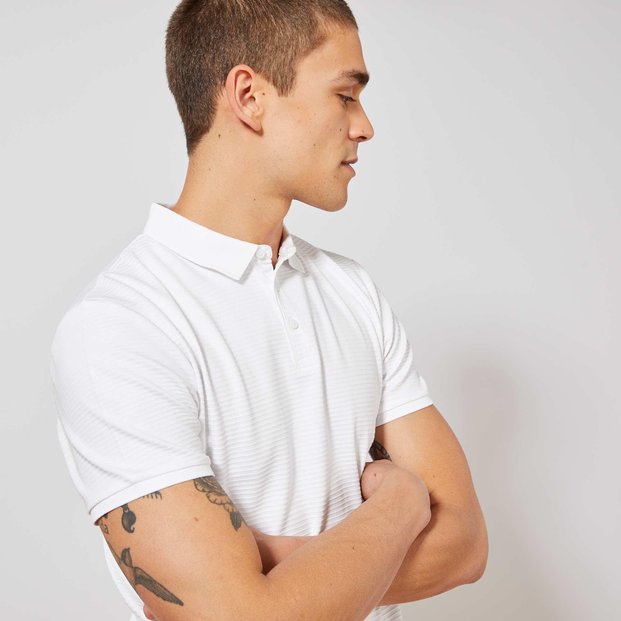 f112a5ba11dc4 Polo slim rayures relief Homme - blanc - Kiabi - 10