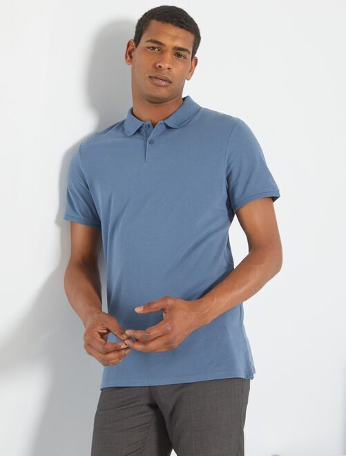 Polo uni regular                                                                                                                                                                                                                 bleu gris