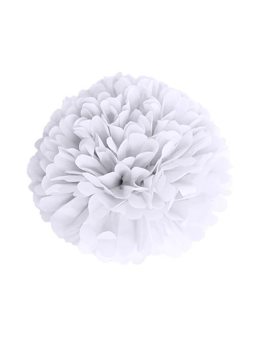 Pompon en papier 15 cm                                                     blanc
