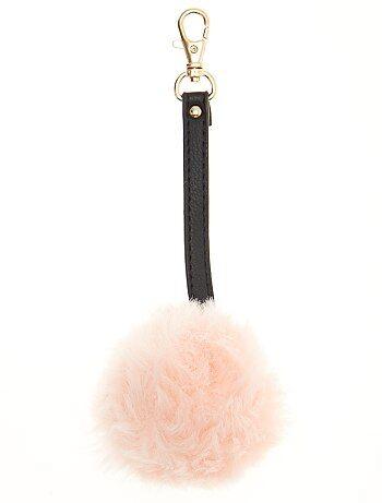 Grande taille femme - Porte-clé pompon fausse fourrure - Kiabi