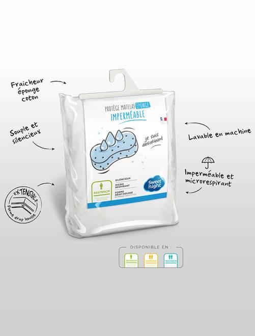 Protège-matelas en éponge 90 x 190-200 cm                             blanc Linge de lit
