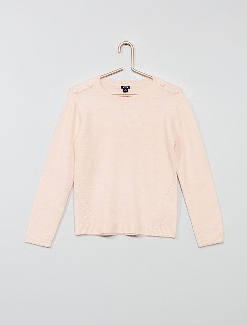 Pull à boutons en maille douce                     rose