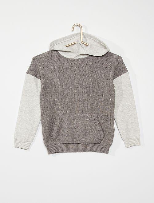 Pull à capuche                             gris beige