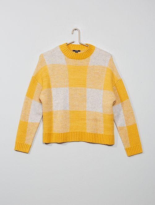 Pull à carreaux                             jaune