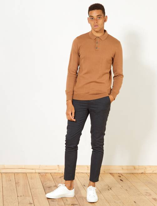 Pull à col polo                                                                 caramel Homme