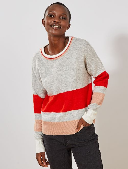 Pull à grosses rayures 'JDY'                             gris/rouge Femme