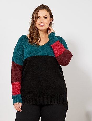db473858dc804 Grande taille femme - Pull ample color block - Kiabi